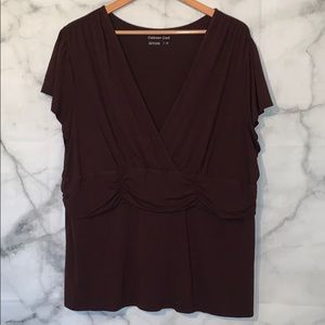 Coldwater Creek brown cross V-neck top